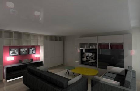 perspective salon gris avec quelques nuances de couleurs