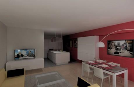 perspective salon et cuisine de couleur rose blanc